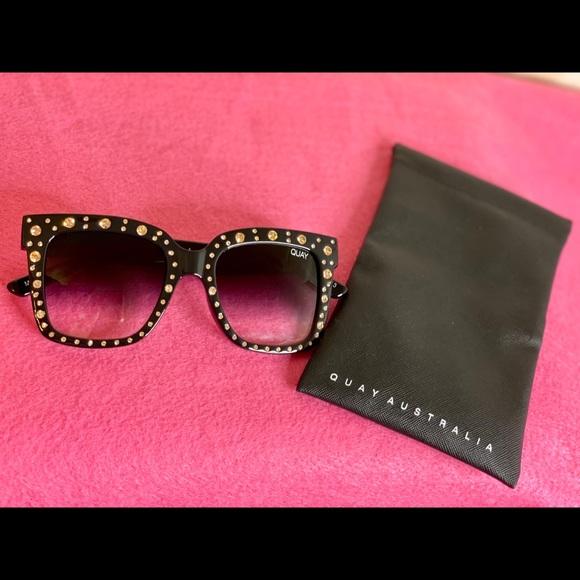 Quay Australia Sunglasses Black with Gold gems